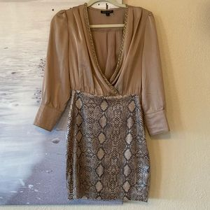 Satin Dress with Snake Print Skirt & Belt Sz Small